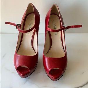 Prada Ruby  4 1/2 inch stacked stilettos size 37/7